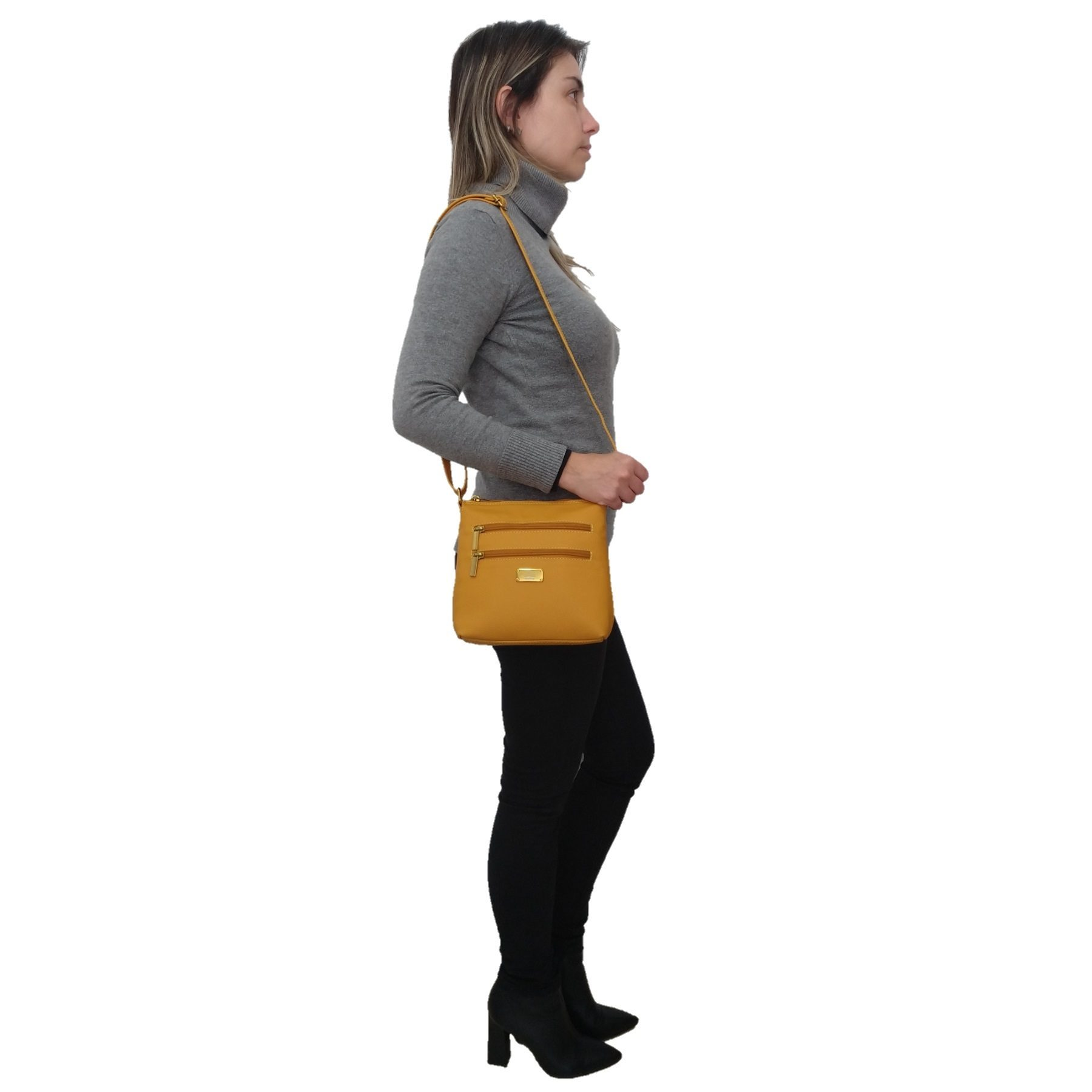Bolsa Transversal TopGrife Couro Amarelo - Promoção  - SAPATOWEB.COM