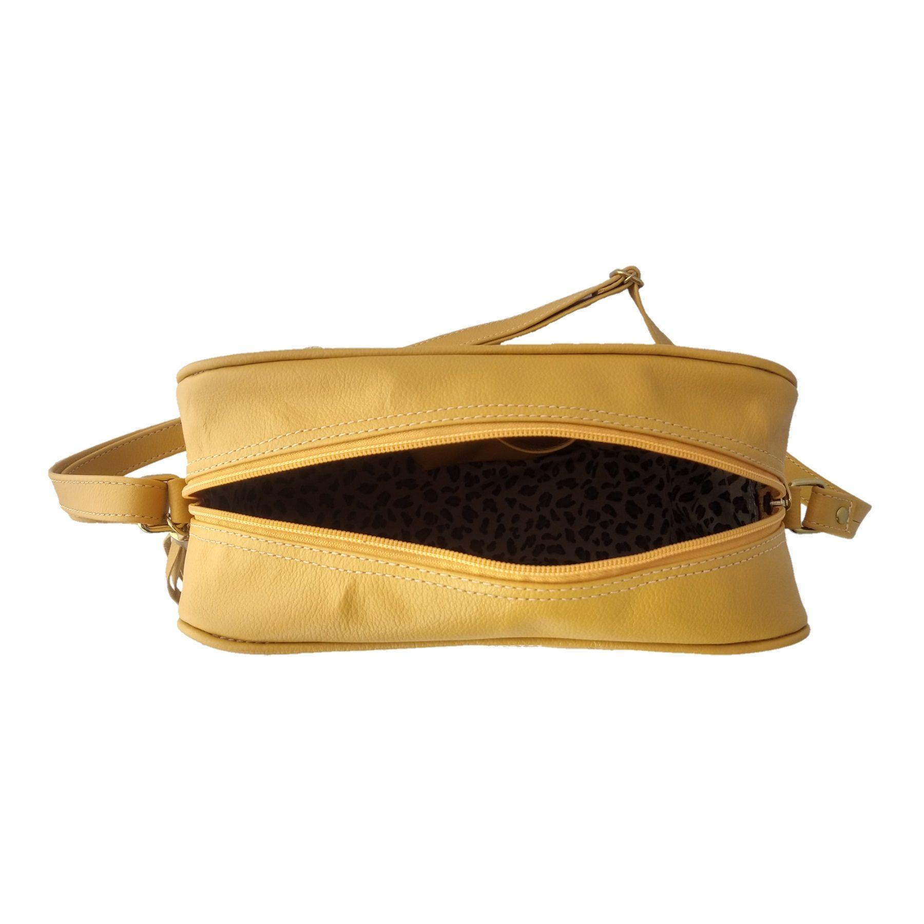 Bolsa Transversal TopGrife Matelassê Couro Amarelo  - SAPATOWEB.COM