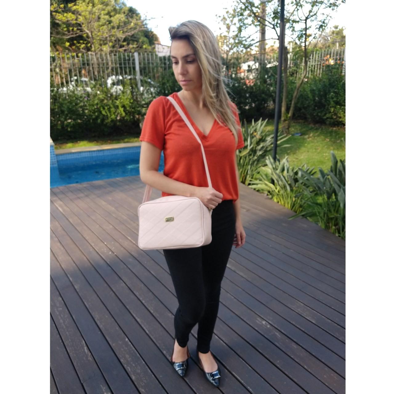 Bolsa Transversal TopGrife Matelassê Couro Rosa  - SAPATOWEB.COM