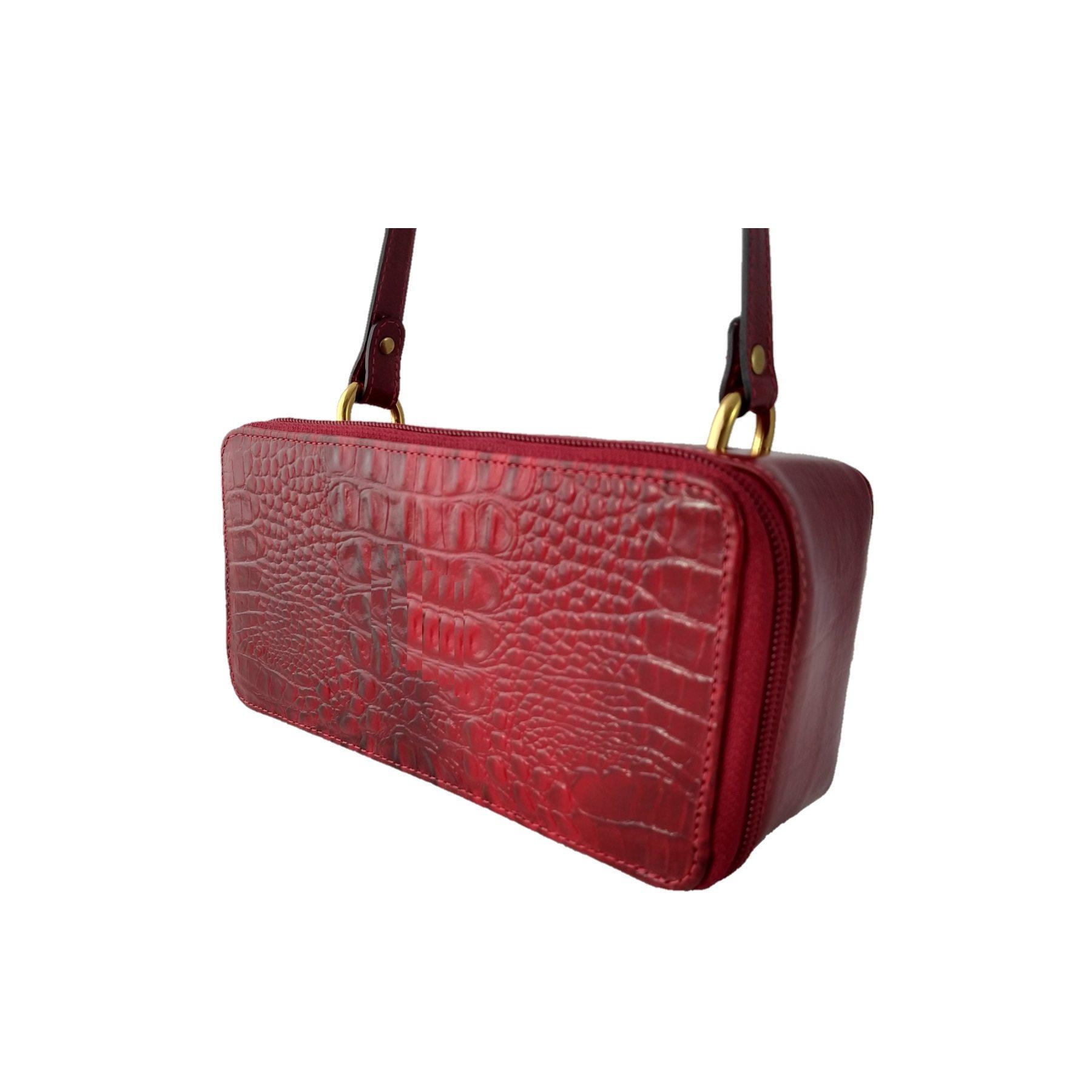 Bolsa Transversal TopGrife Retangular Couro Croco  - SAPATOWEB.COM