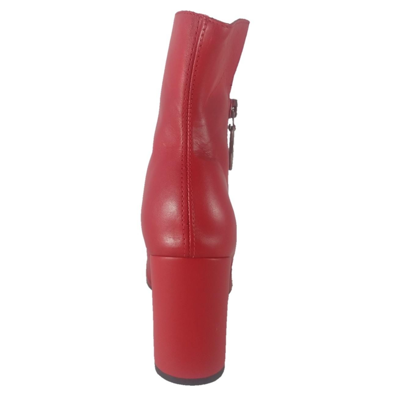 Bota Cano Baixo SapatoWeb Bico Fino Couro Vermelho  - SAPATOWEB.COM