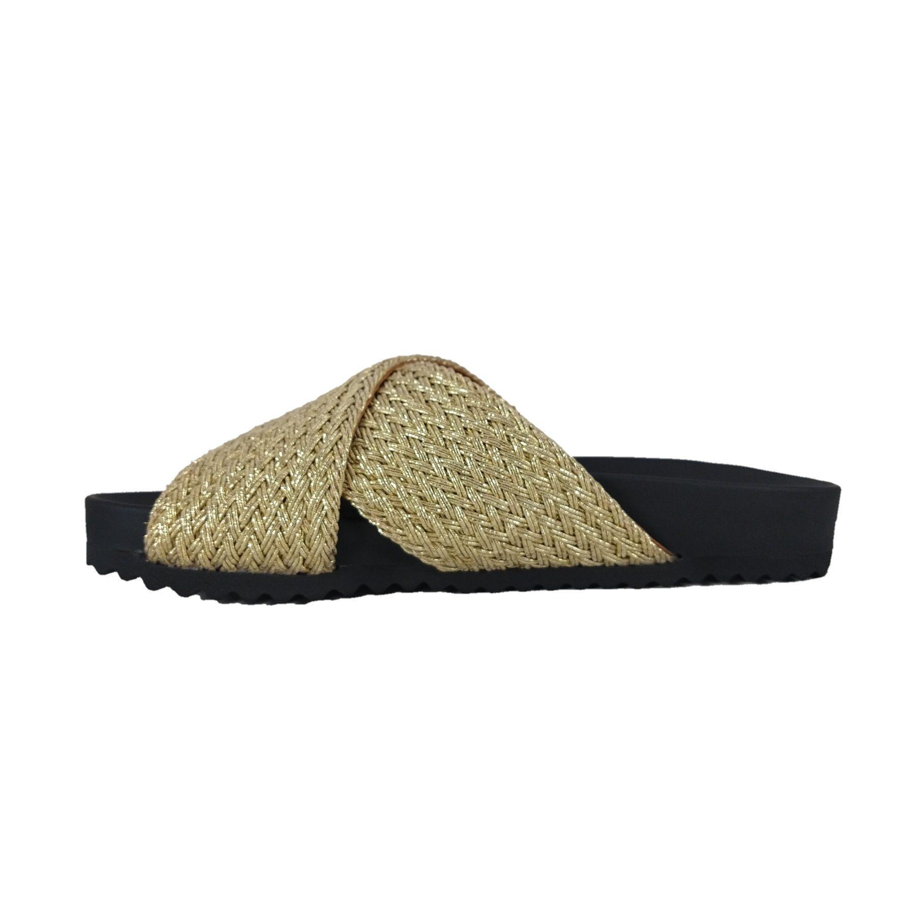 Chinelo Tiras SapatoWeb Tranças Ouro  - SAPATOWEB.COM