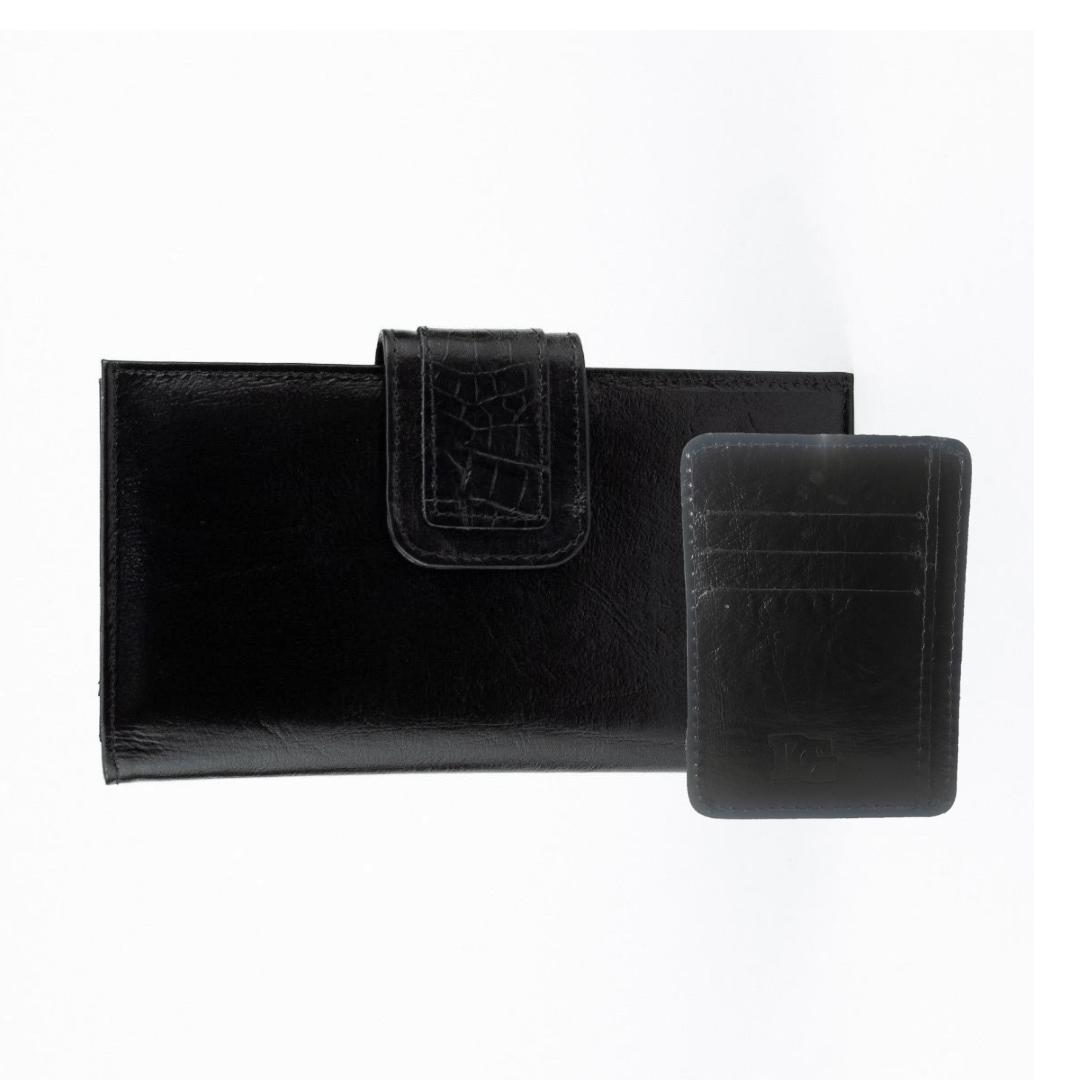 Kit Carteira Lisa e Porta Cartões TopGrife Couro  - SAPATOWEB.COM