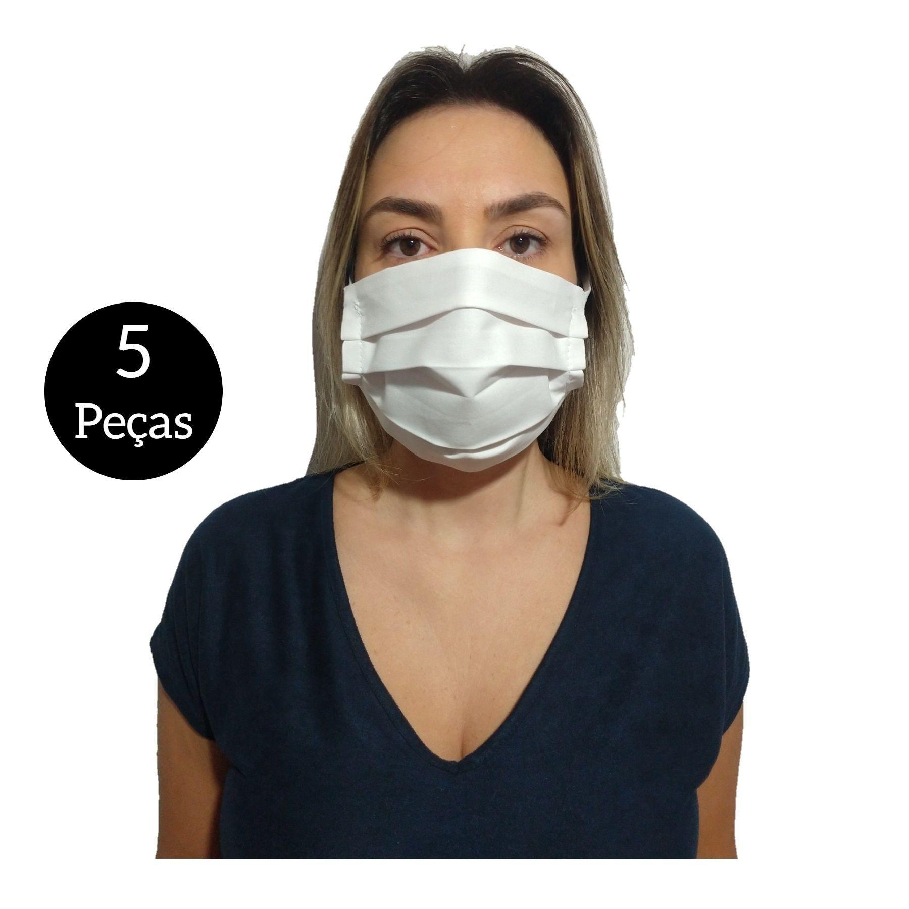 Kit com 5 Máscaras De Proteção Tecido Lavável  - SAPATOWEB.COM