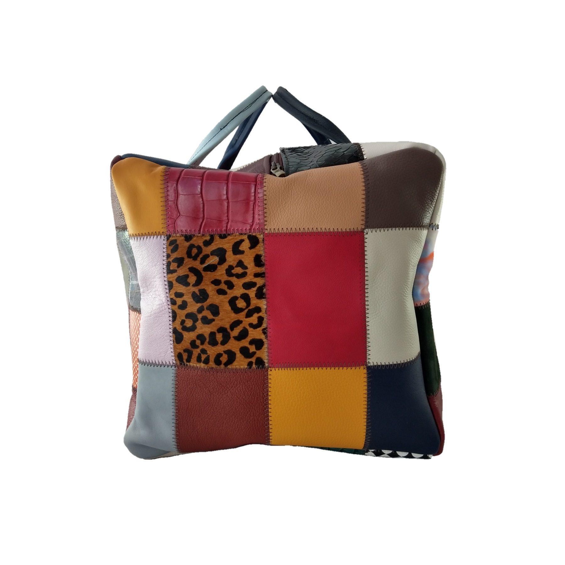 Mala de Viagem TopGrife Couro Patchwork Multicolorido  - SAPATOWEB.COM