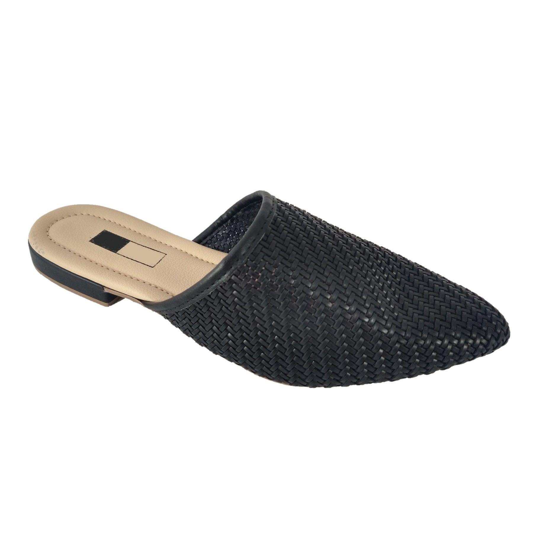 Mule Slipper SapatoWeb Tranças Preto  - SAPATOWEB.COM