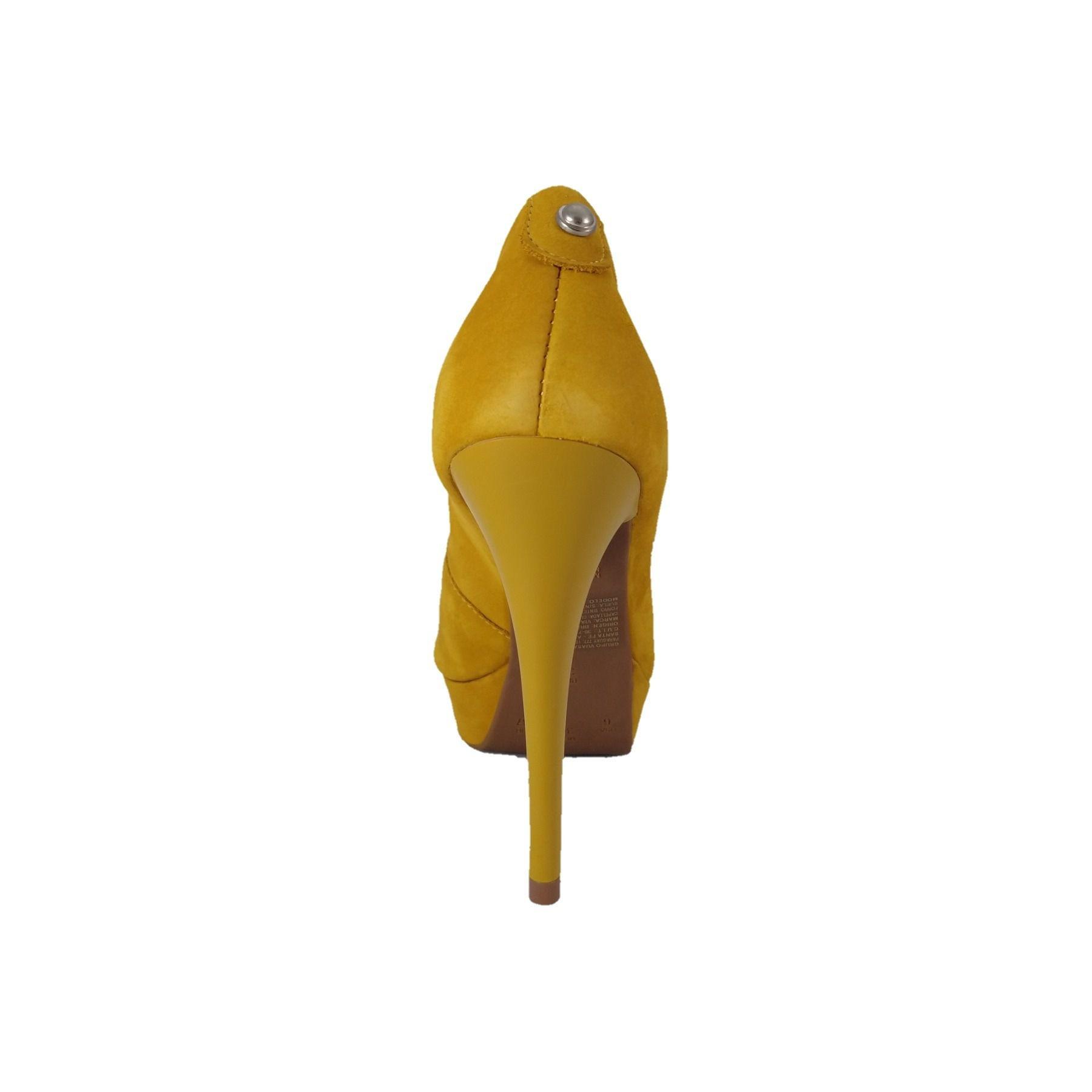 Peep Toe SapatoWeb Couro Amarelo  - SAPATOWEB.COM