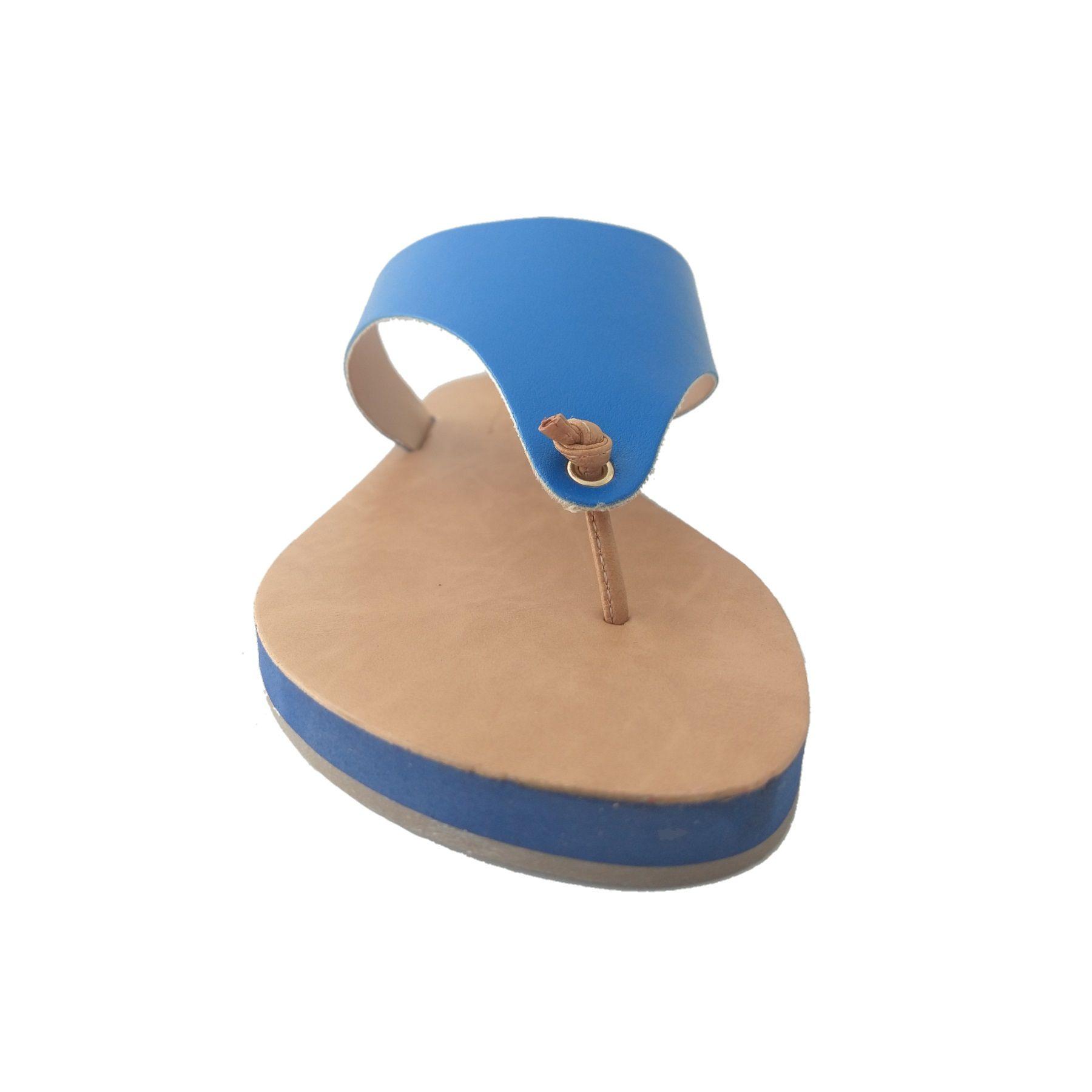 Rasteira SapatoWeb Couro Azul  - SAPATOWEB.COM