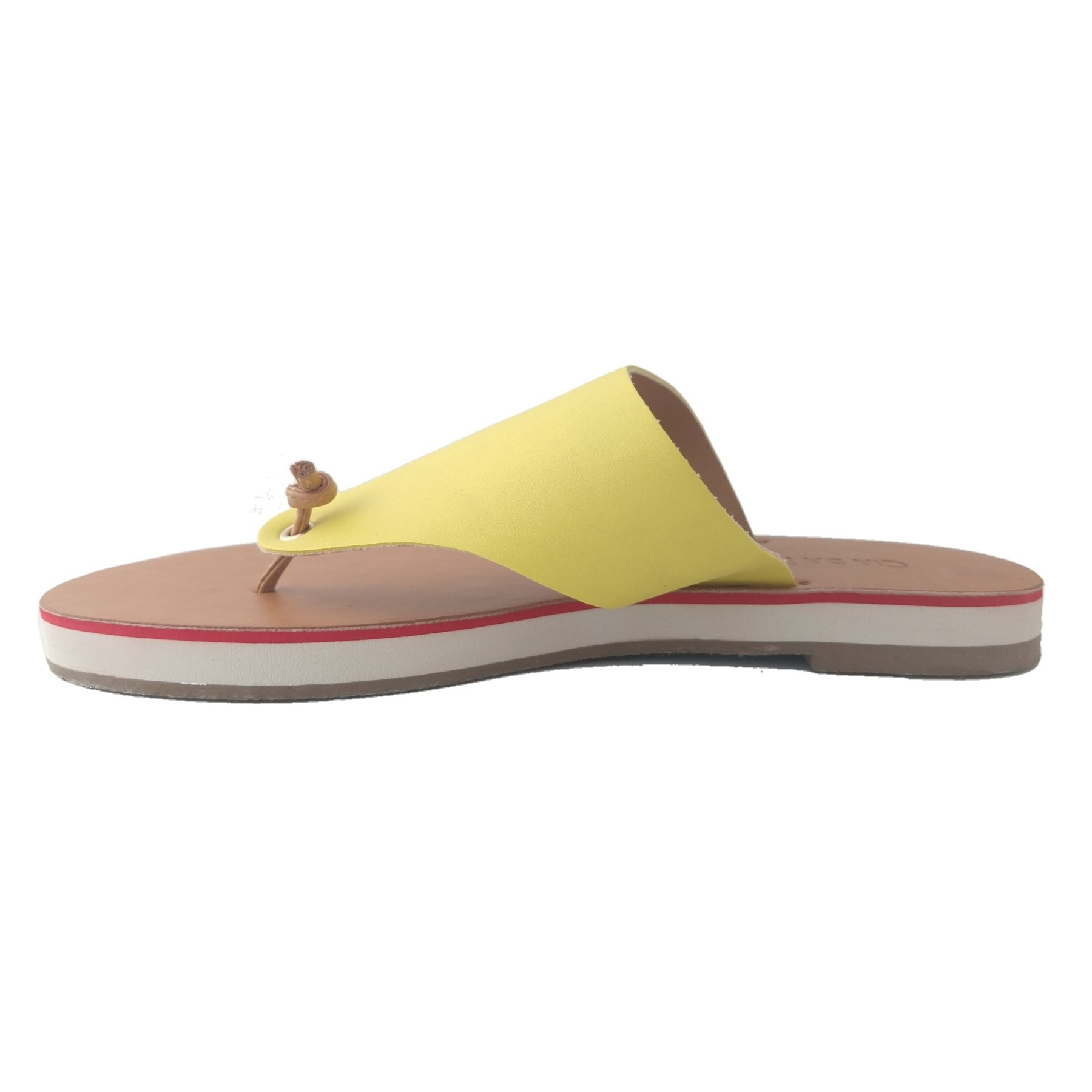Rasteira SapatoWeb Couro Amarelo  - SAPATOWEB.COM