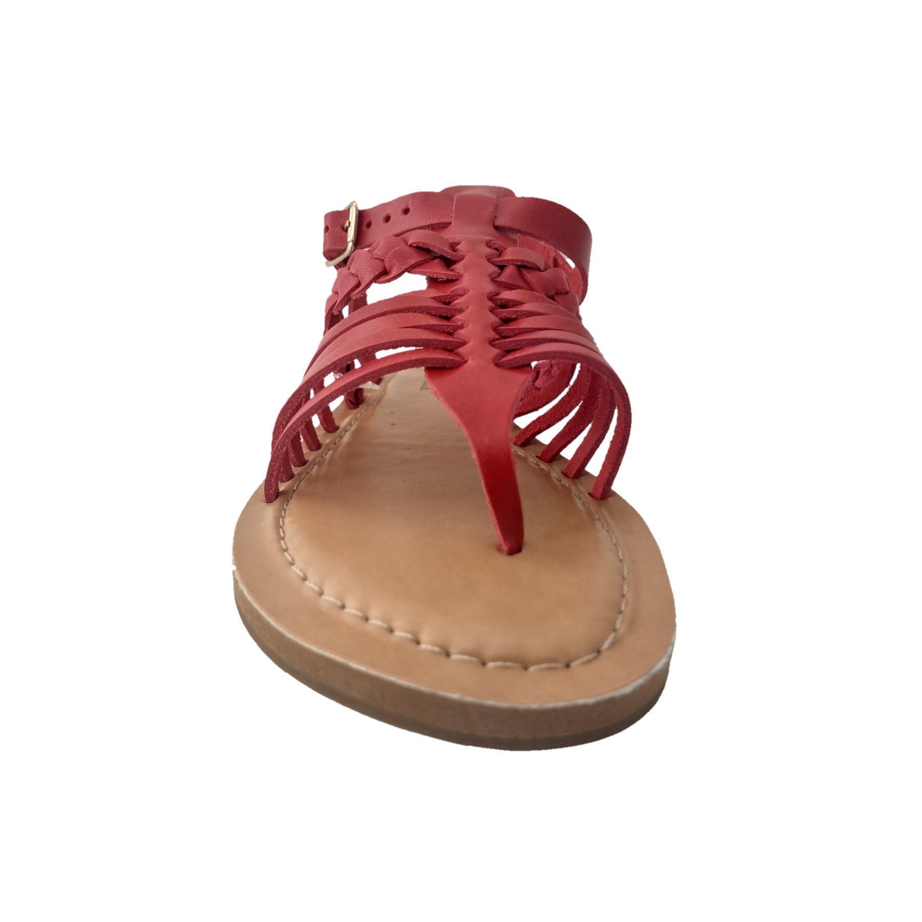 Rasteira Tranças SapatoWeb Couro Vermelho  - SAPATOWEB.COM