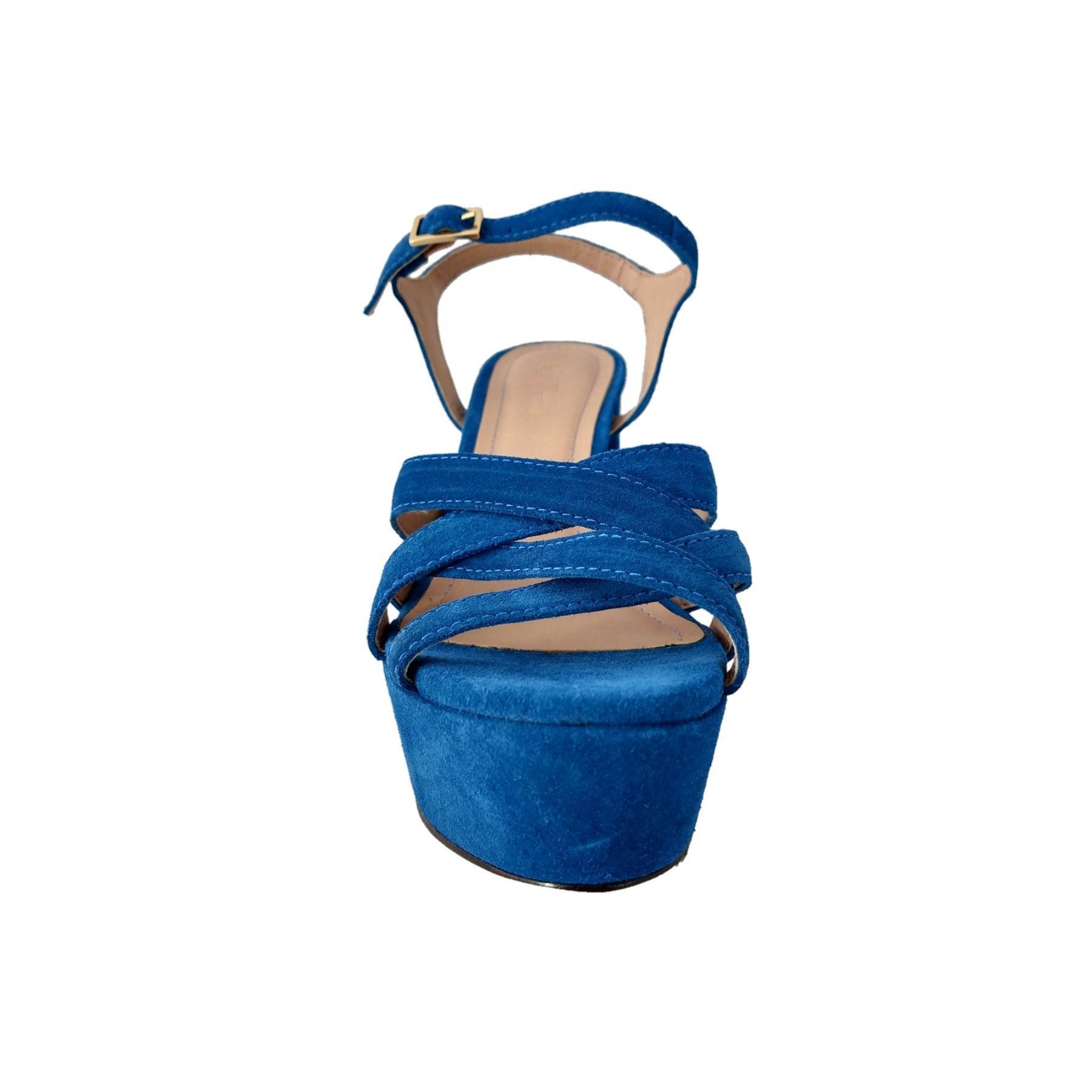 Sandália Salto Bloco TopGrife Couro Camurça Azul  - SAPATOWEB.COM