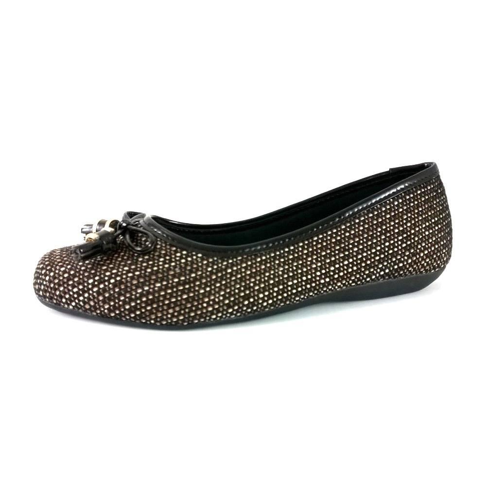 Sapatilha Bico Quadrado SapatoWeb Laço Marrom  - SAPATOWEB.COM