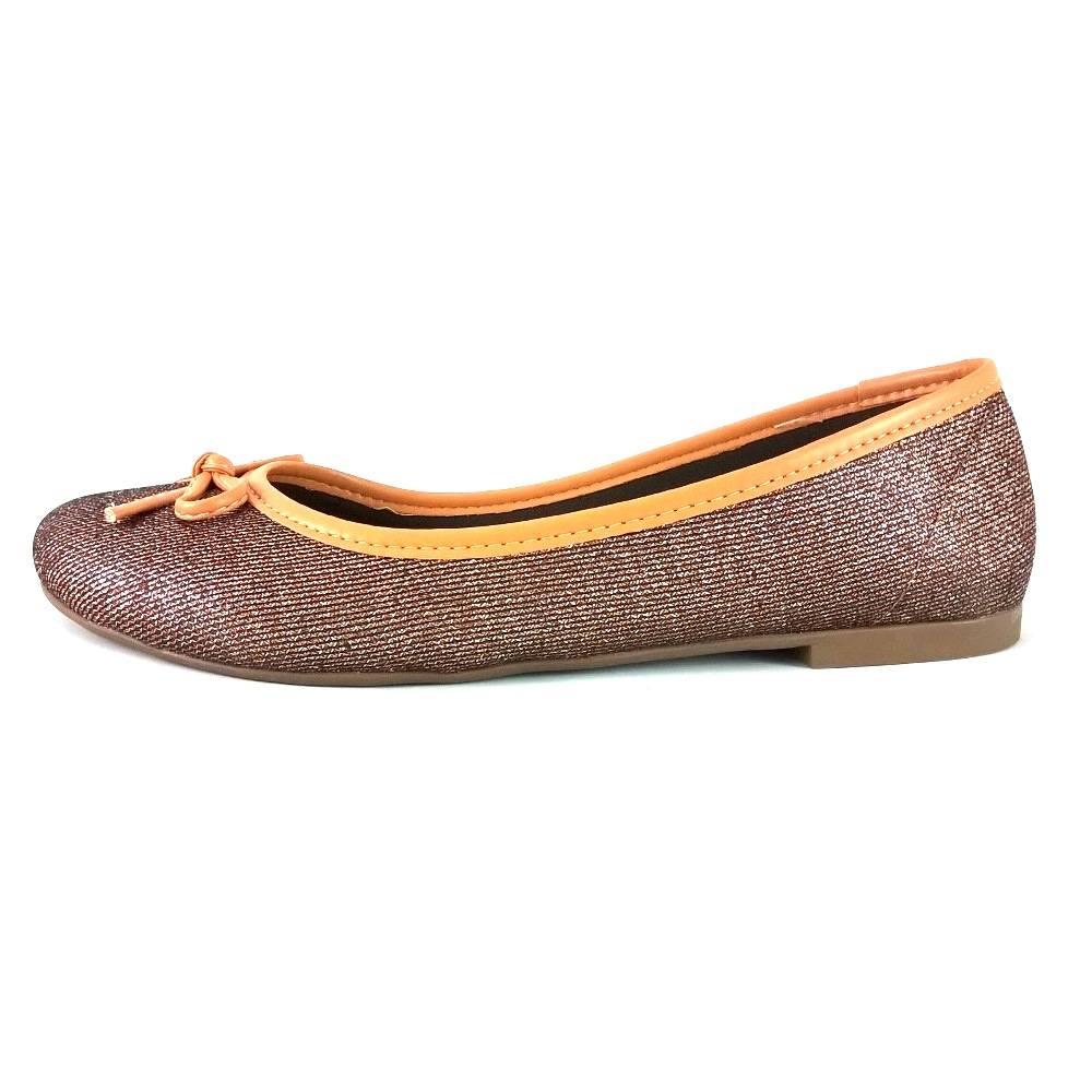 Sapatilha Bico Redondo SapatoWeb Lacinho Bronze  - SAPATOWEB.COM