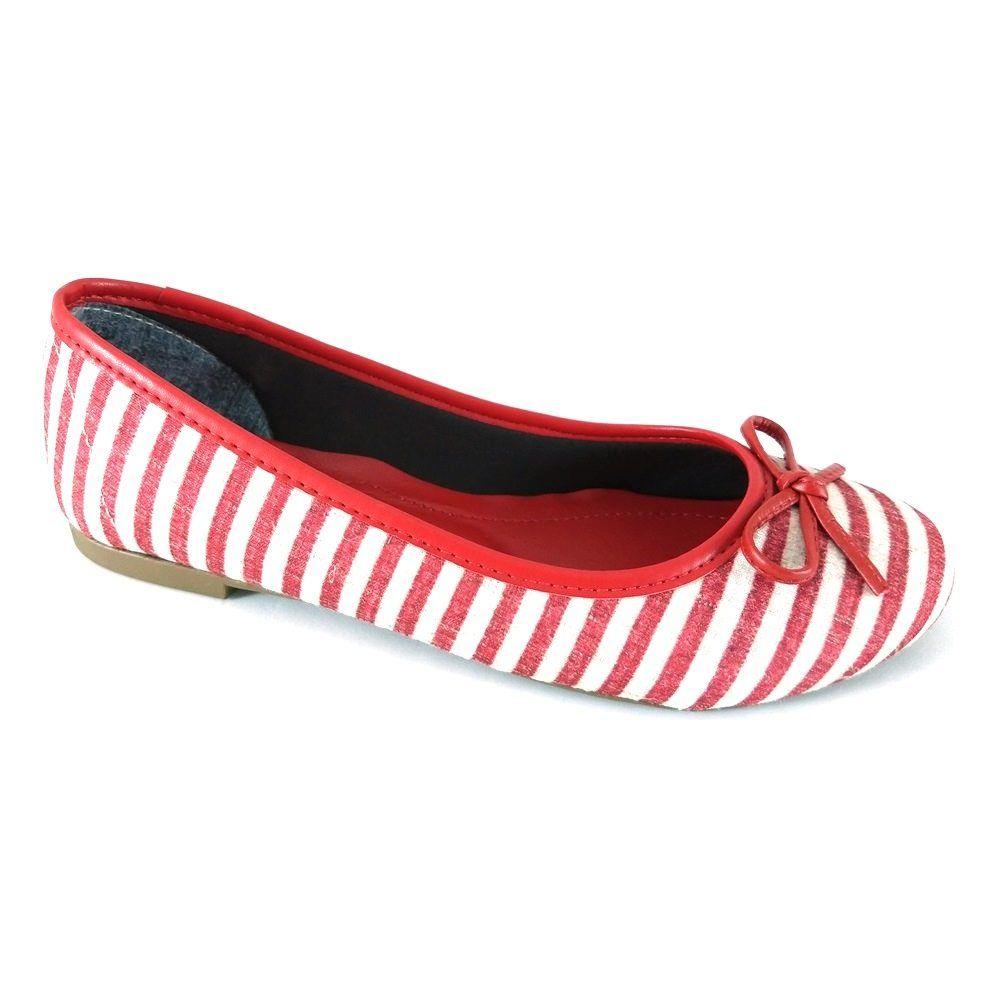 Sapatilha Bico Redondo SapatoWeb Lacinho Listras  - SAPATOWEB.COM