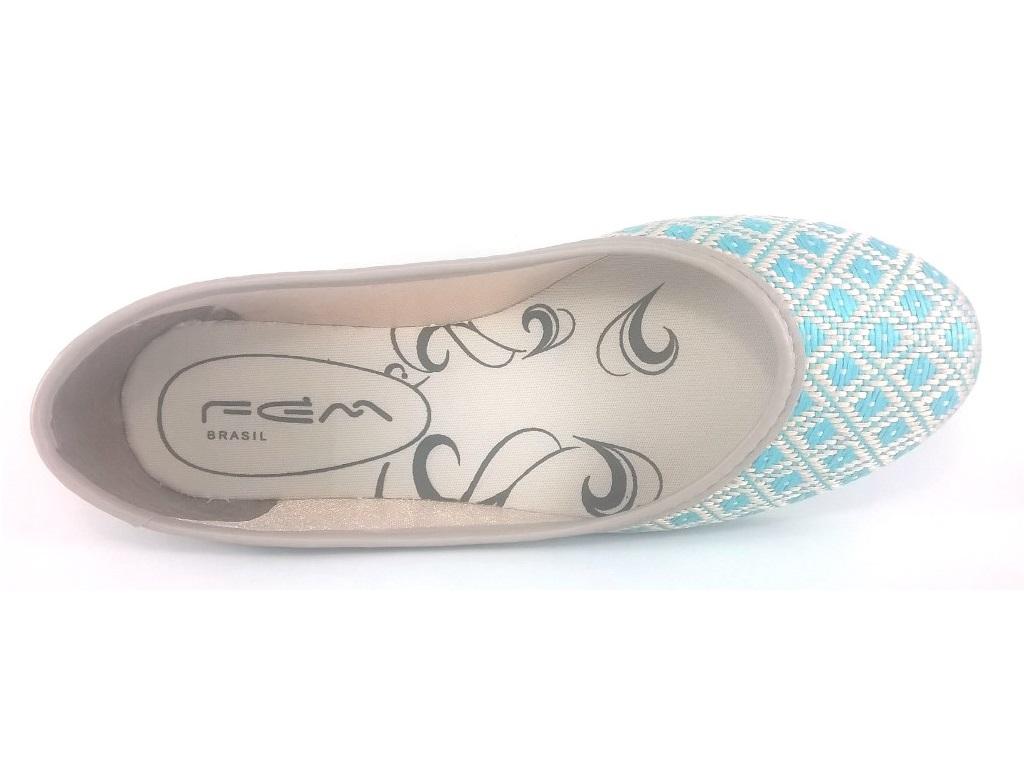 Sapatilha Confort FEM Croche Azul  - SAPATOWEB.COM