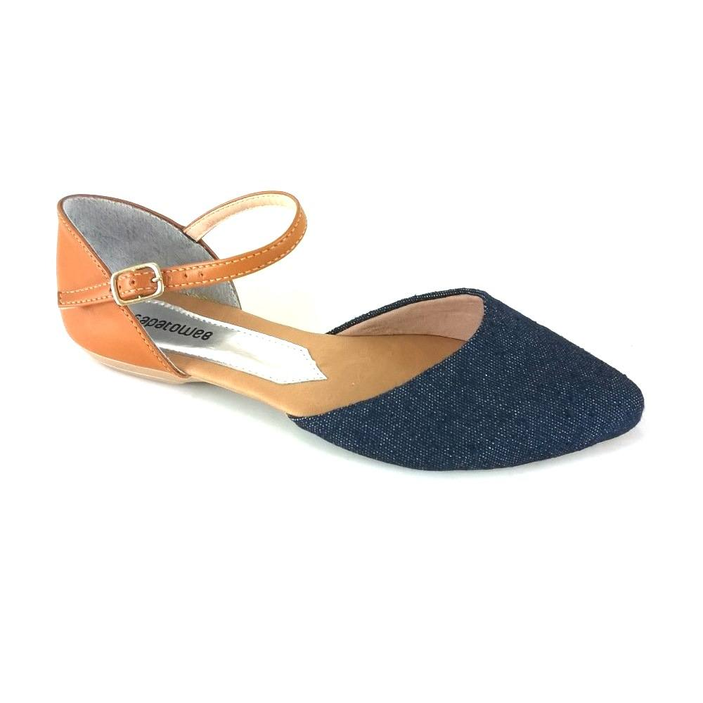 Sapatilha Salomé SapatoWeb Jeans Azul  - SAPATOWEB.COM
