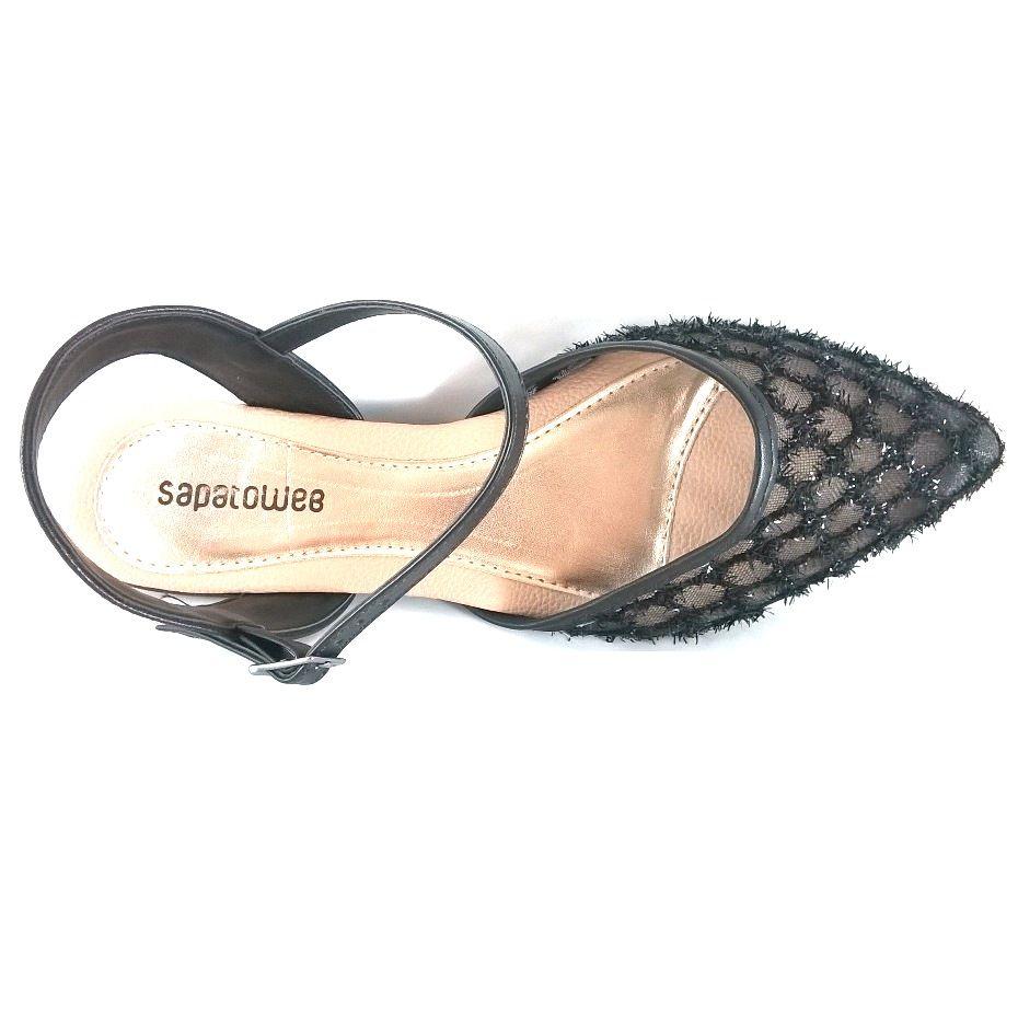 Sapatilha Salomé SapatoWeb Renda Preto  - SAPATOWEB.COM