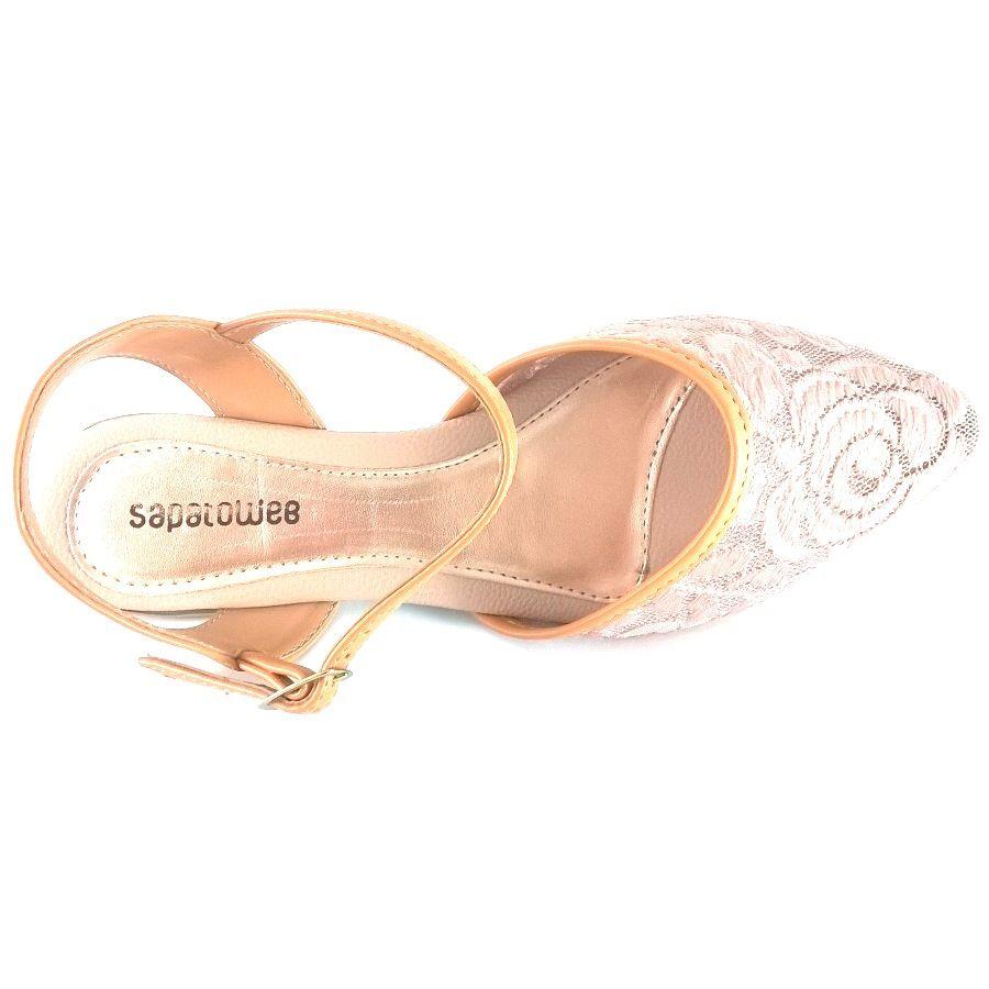 Sapatilha Salomé SapatoWeb Renda Bege  - SAPATOWEB.COM