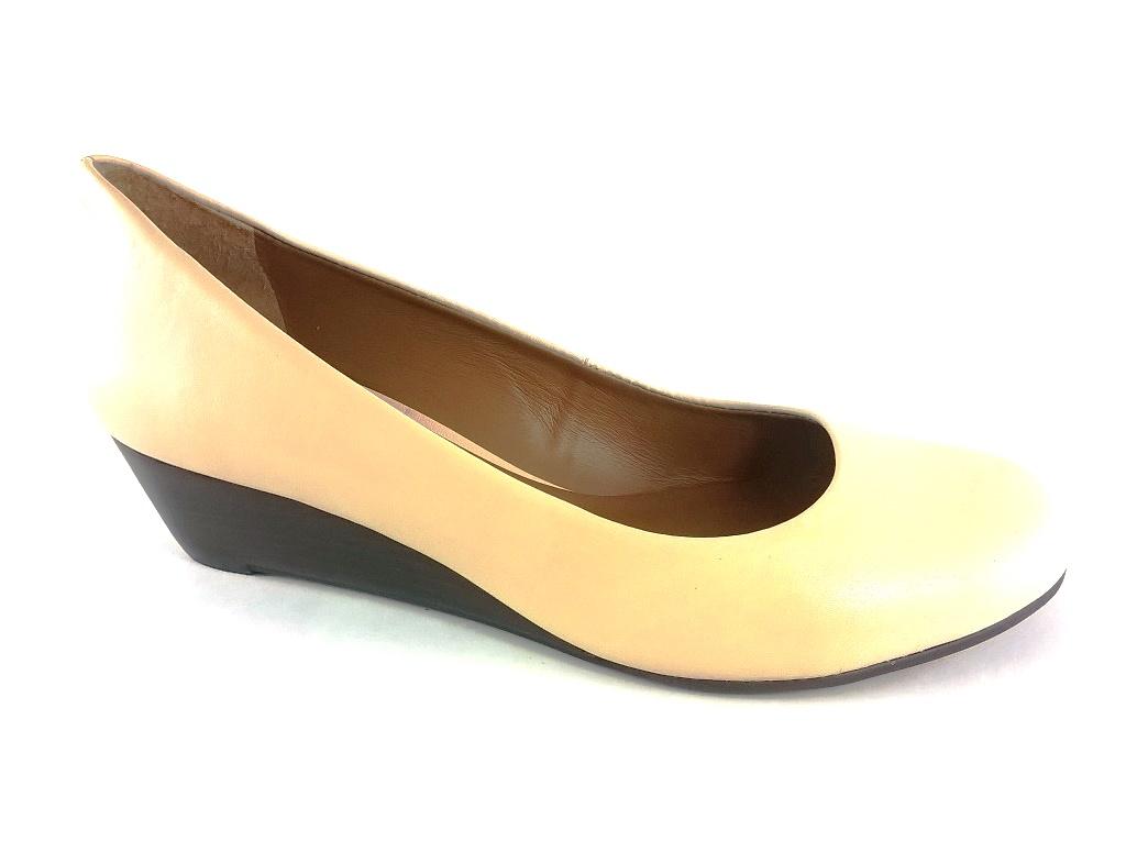 Sapato Anabela TopGrife Bege  - SAPATOWEB.COM