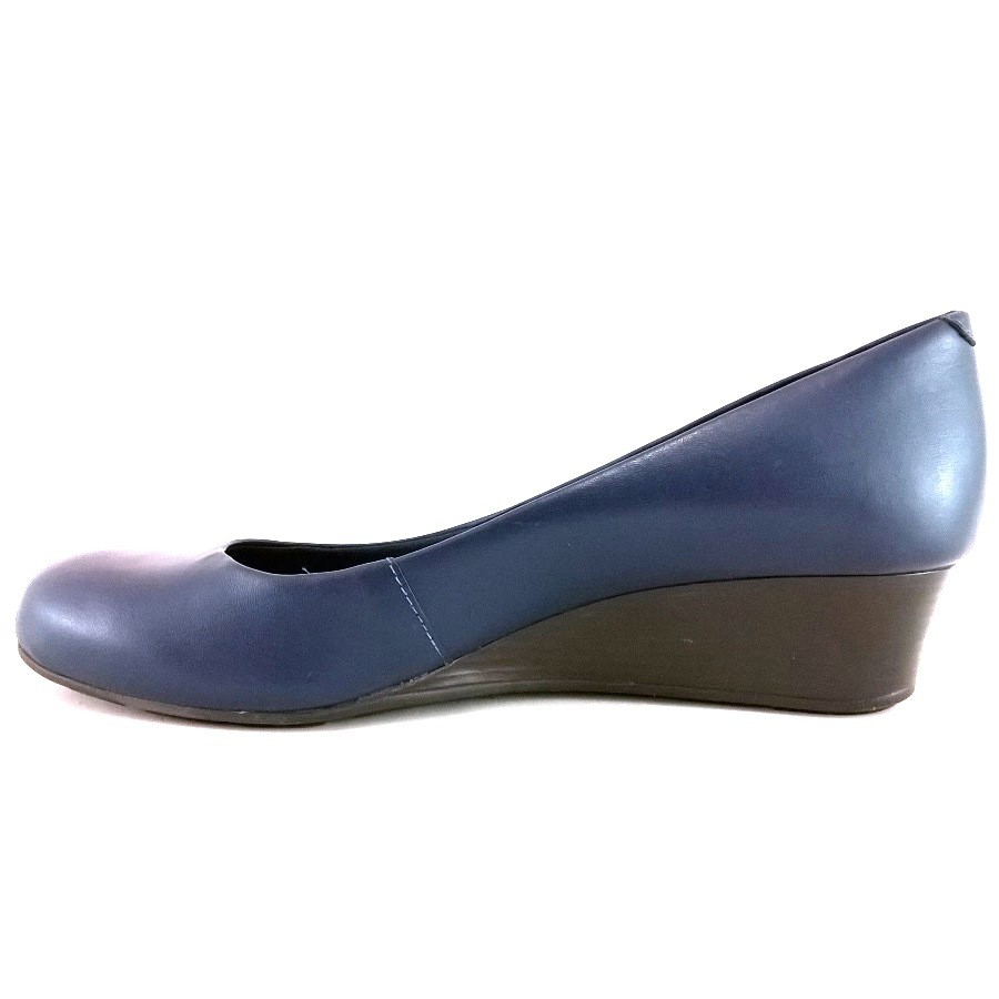 Sapato Anabela Via Uno Confort Azul Marinho  - SAPATOWEB.COM
