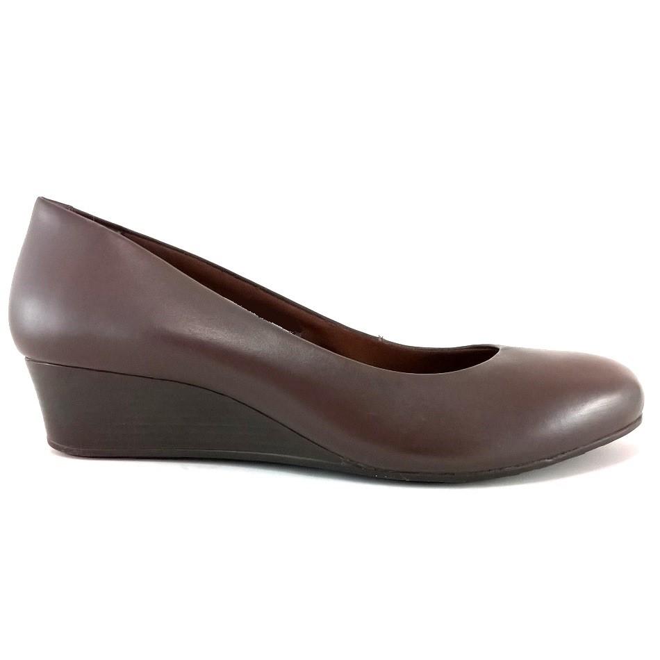 Sapato Anabela Via Uno Confort Marrom  - SAPATOWEB.COM