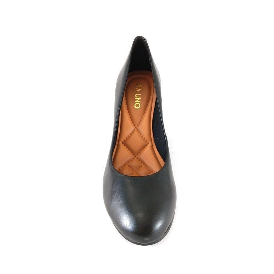 Sapato Anabela Via Uno Confort Preto  - SAPATOWEB.COM