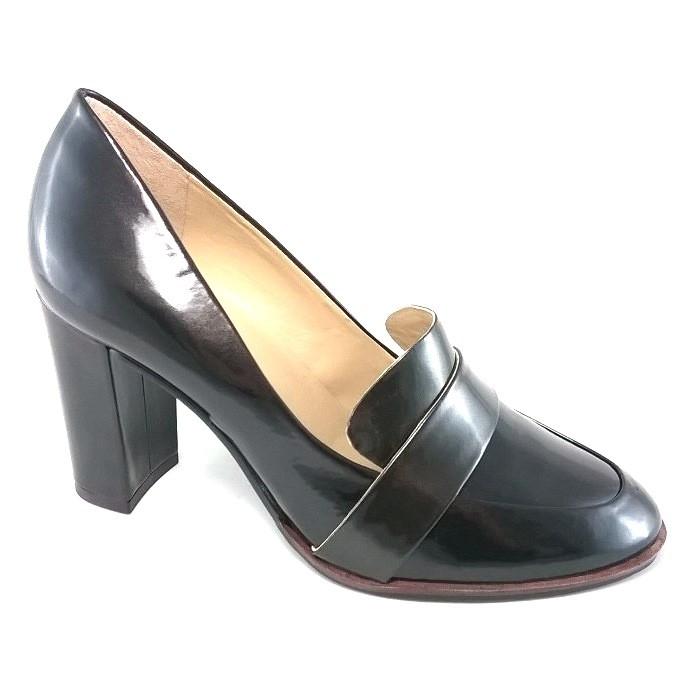 Sapato Clássico TopGrife Salto Alto Couro Marrom  - SAPATOWEB.COM