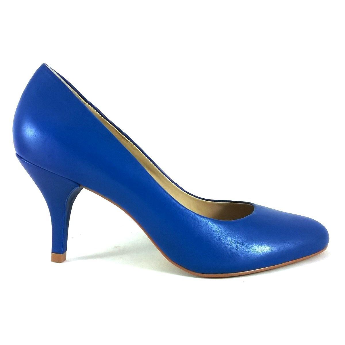 Scarpin Bico Redondo TopGrife Couro Azul  - SAPATOWEB.COM