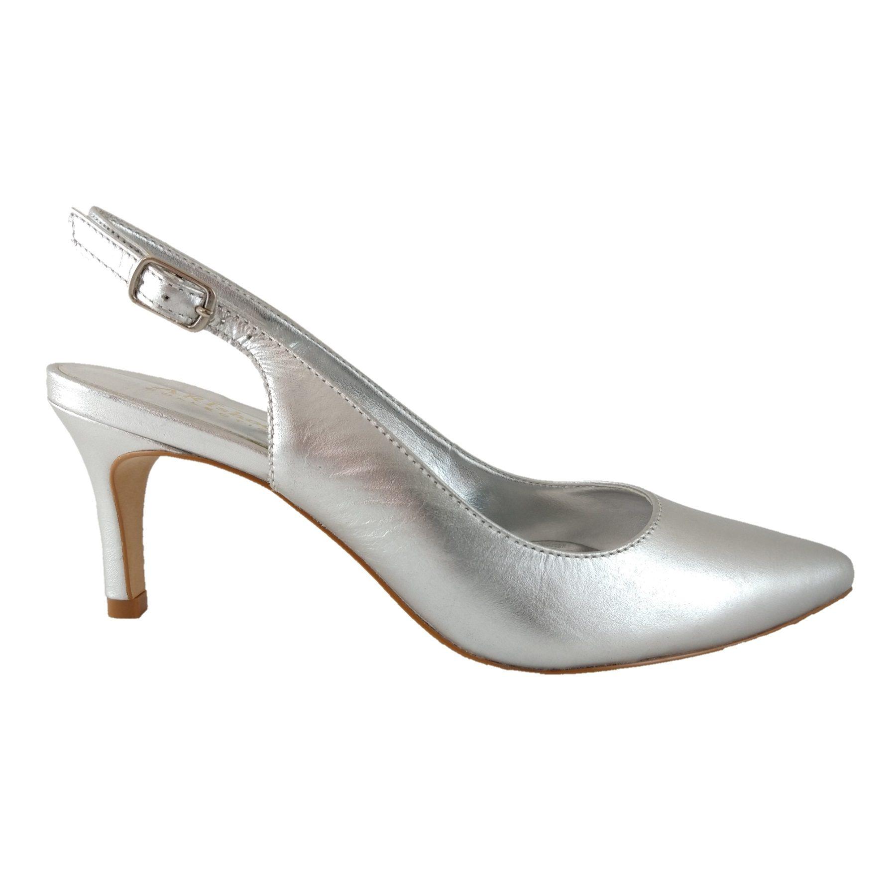 Scarpin Chanel SapatoWeb Couro Prata  - SAPATOWEB.COM