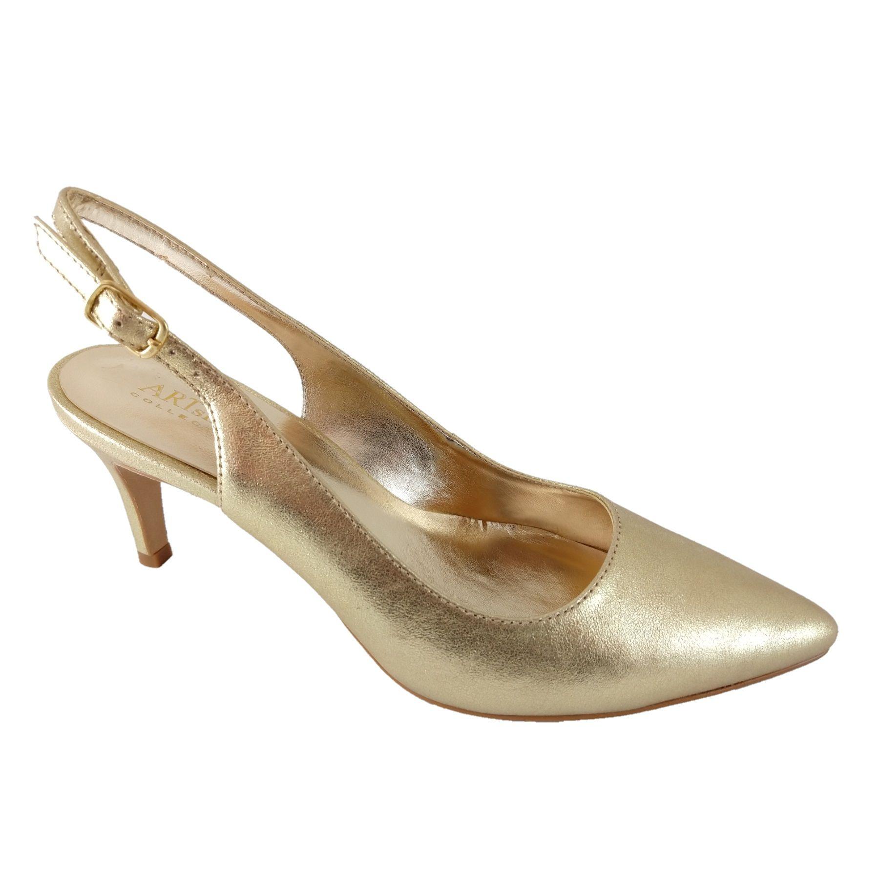 Scarpin Chanel SapatoWeb Couro Ouro  - SAPATOWEB.COM
