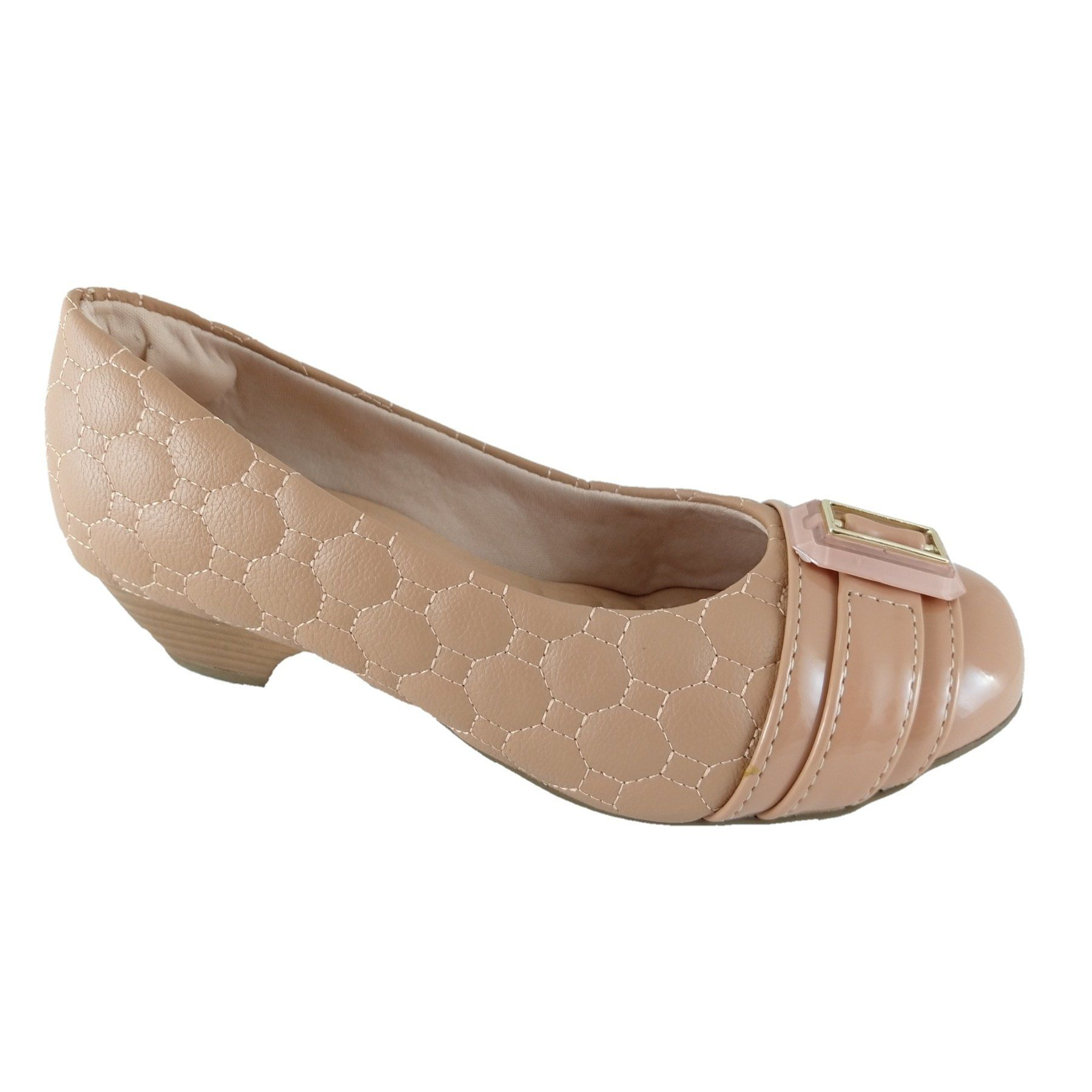 Scarpin Confort SapatoWeb Matelassê Nude  - SAPATOWEB.COM