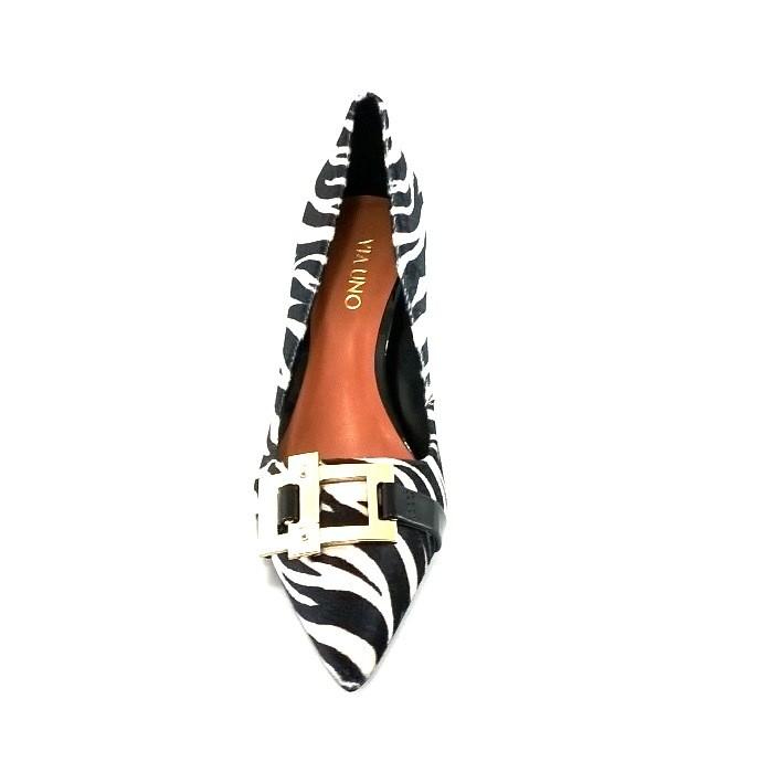 Scarpin Via Uno Fivela Zebra  - SAPATOWEB.COM