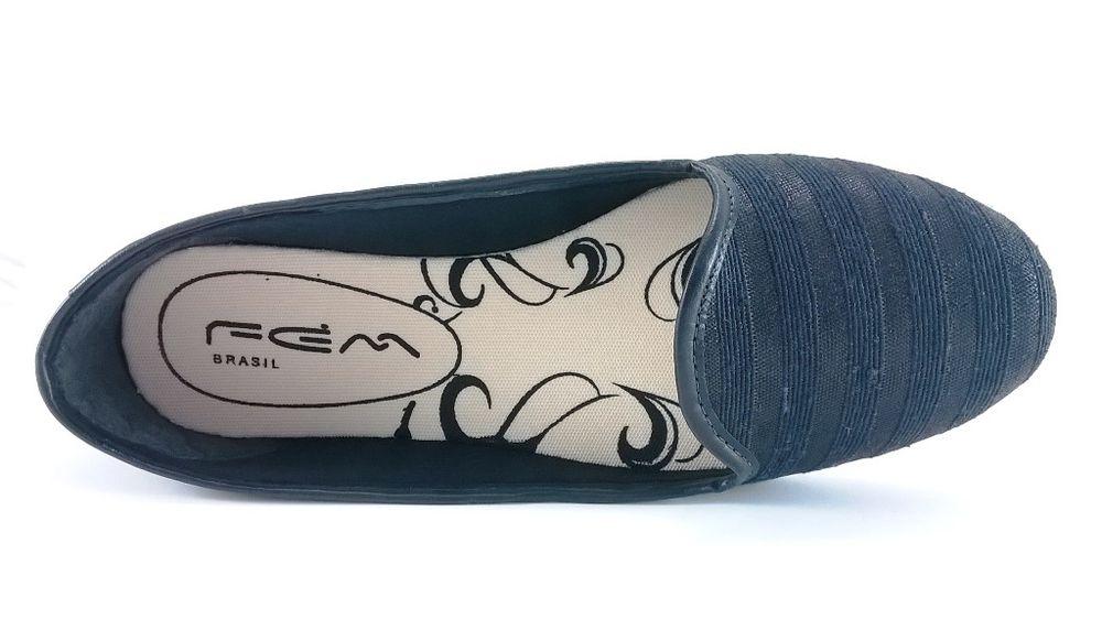 Slipper Confort FEM Listras Preto  - SAPATOWEB.COM