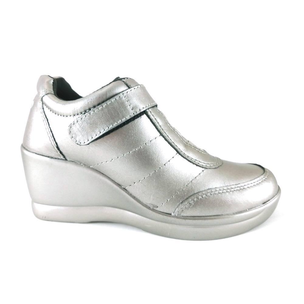 Sneaker Via Uno Metalizado Couro Prata  - SAPATOWEB.COM