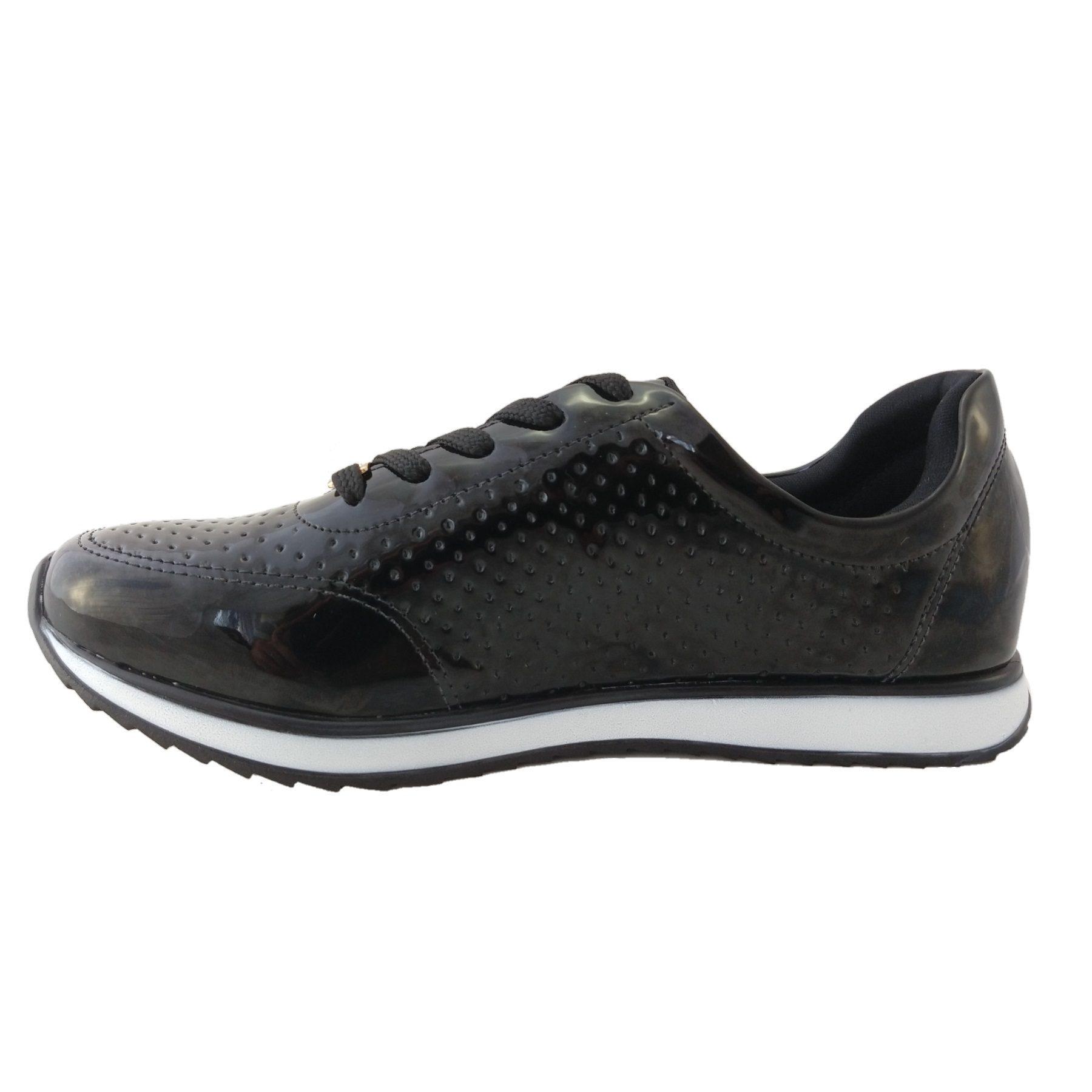 Tênis Feminino Via Uno Jogging Verniz Preto  - SAPATOWEB.COM