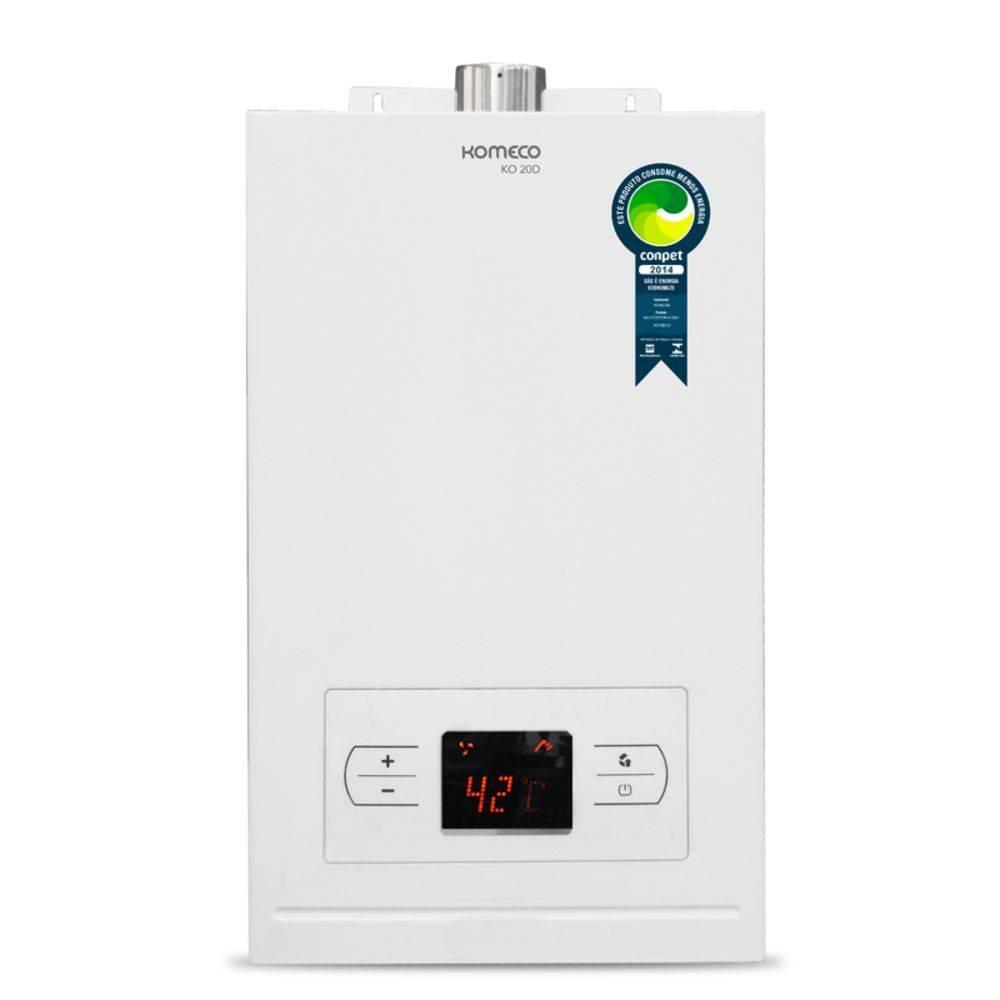 Aquecedor de água a gás Komeco Digital KO 20 D Branco GN