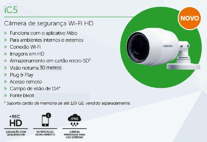 Câmera de Segurança Wi-Fi HD Mibo iC5 intelbras