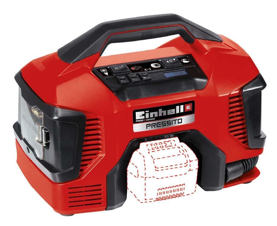 Compressor Híbrido a Bateria (Não Inclusa) e Elétrico Einhell Pressito SOLO