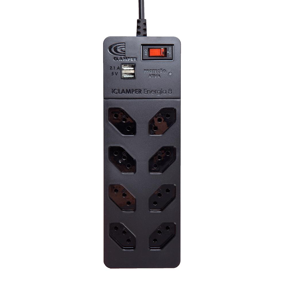 Filtro de linha Energia 8 tomadas + USB Preto Iclamper