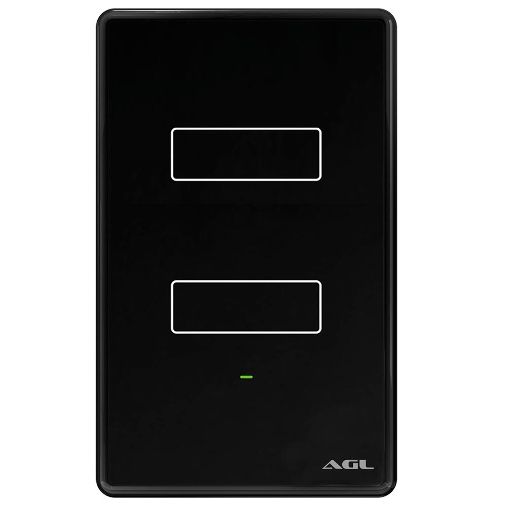 Interruptor 2 teclas inteligente Touch Wi-Fi Preto AGL