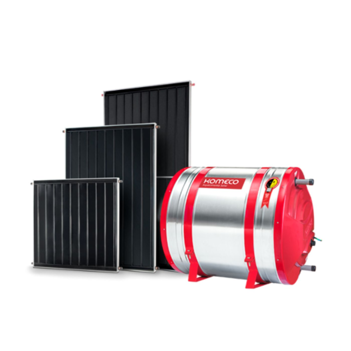 Kit aquecedor solar Komeco 300 Litros Baixa pressão 304 + 3 Coletores 1 x 1metro