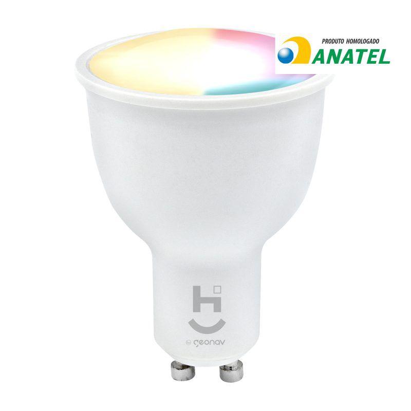 Lâmpada Inteligente Wi-Fi Dicróica Geonav HIG10QF Quente e Frio