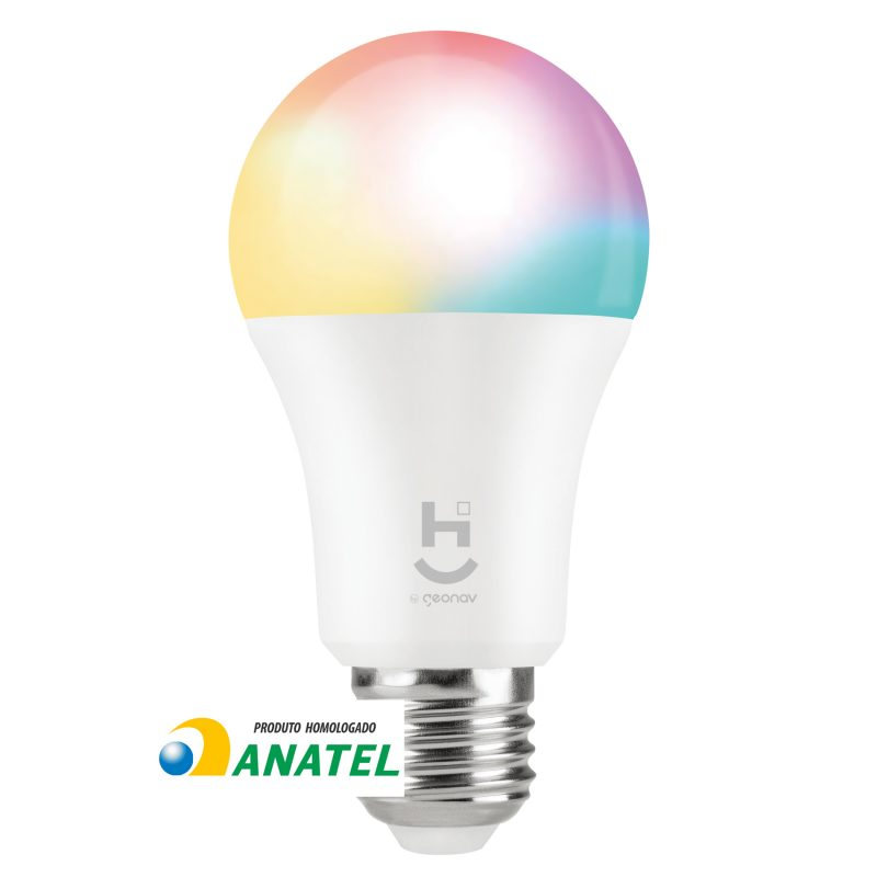 Lâmpada LED Inteligente Wi-Fi Geonav RGB+W Branco Quente e Frio E27