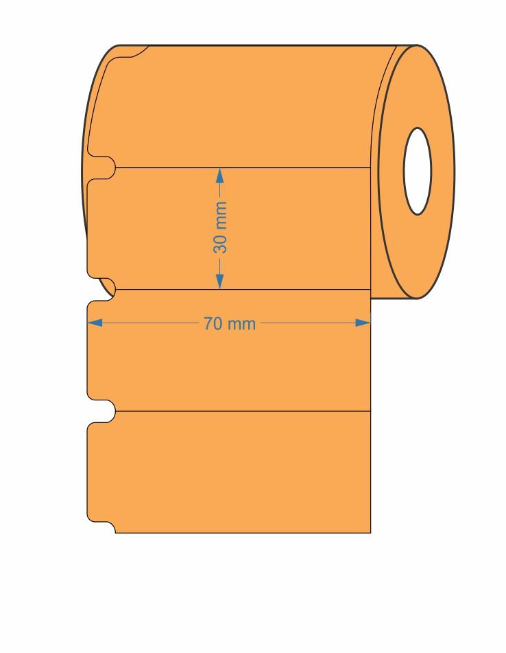 10 Rolos Etiqueta Gondola 70x30 Mm Não Adesiva - LARANJA + 5 Ribbons Cera