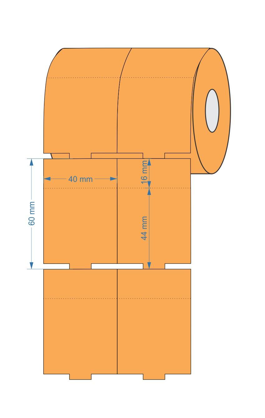 Etiqueta Tag 40x60 Mm Couchê 32 Mts Não Adesiva LARANJA - 5 Rolos
