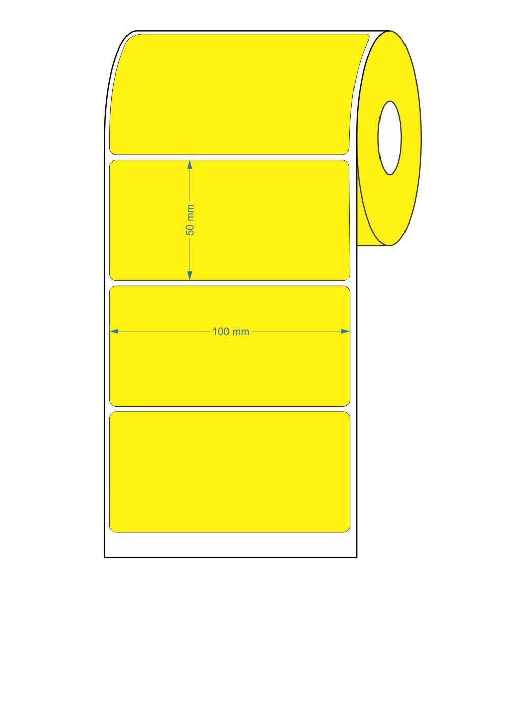 10 Rolos - Etiquetas Adesivas 100x50 mm Amarela Couchê 32 Metros