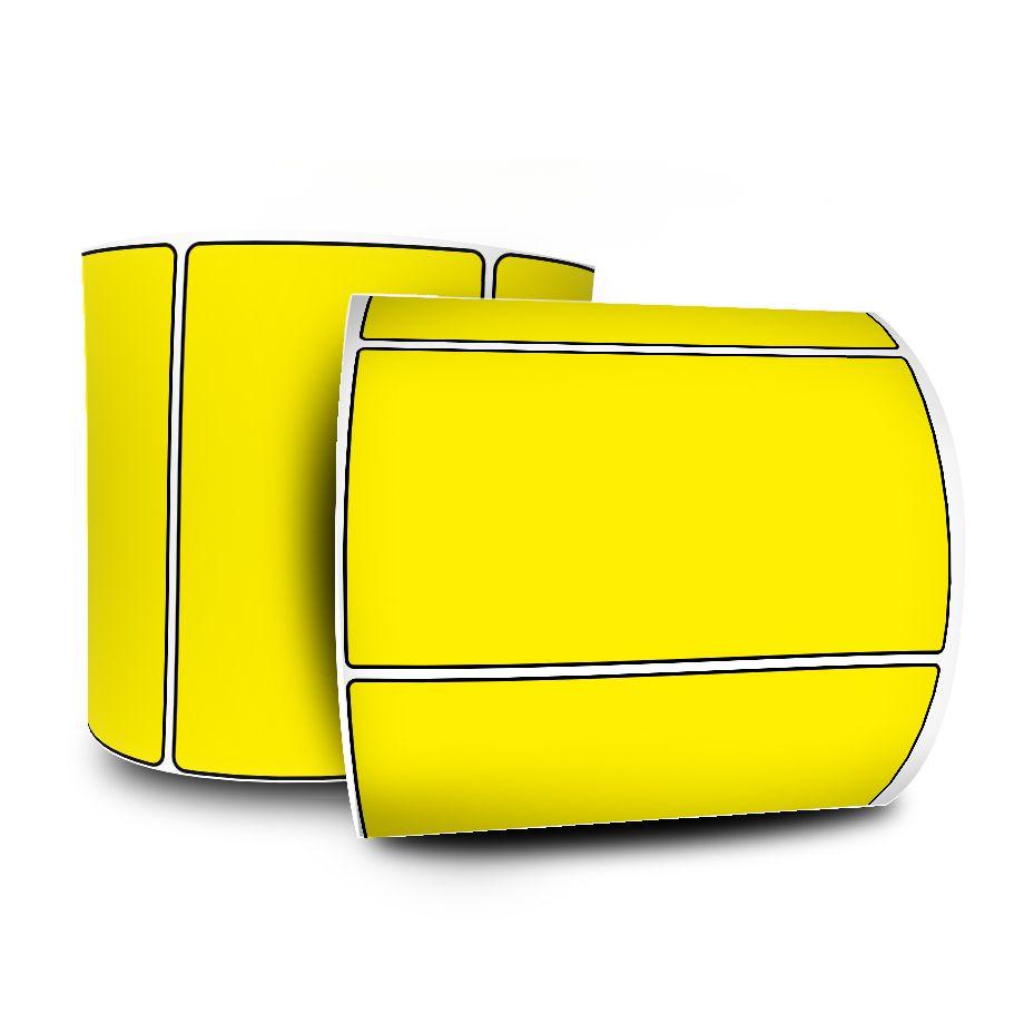 10 Rolos Etiquetas Adesivas 100x50 mm Amarela Couchê  + 5 Ribbons Cera
