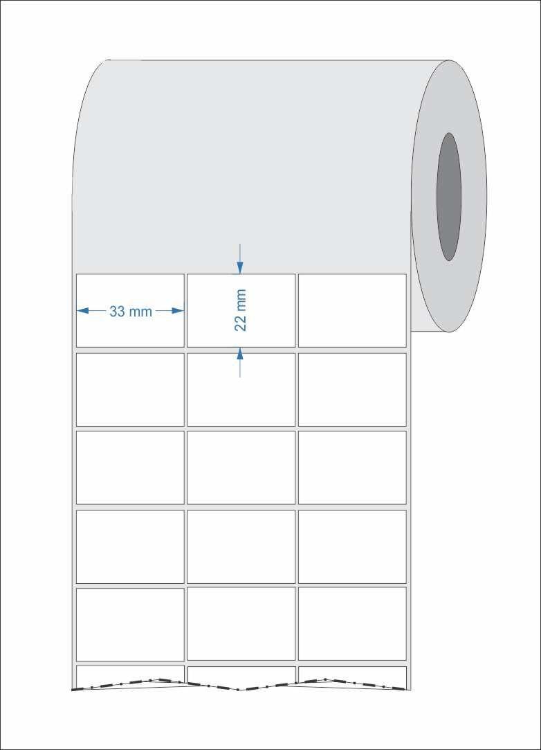 10 Rolos Etiquetas Adesivas 33x22 mm Couchê 3 Colunas + 5 Ribbons Cera