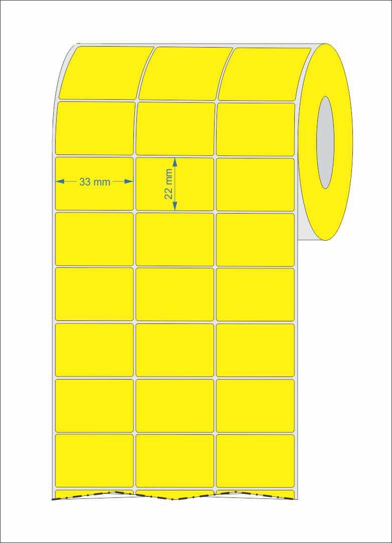 Etiqueta Adesiva 33x22 Amarela Couchê 3 Col 10 Rolos + 5 Ribbons Cera