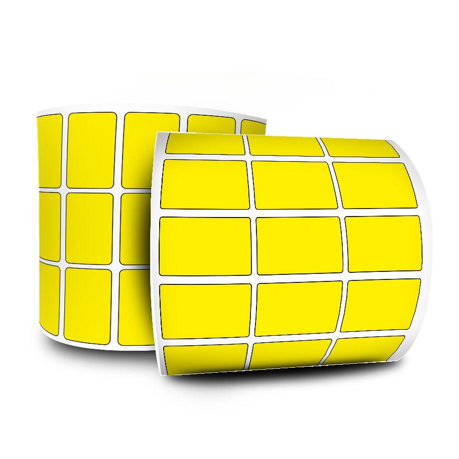 Etiquetas Adesivas Amarela 33x22 mm 10 Rolos Couchê 3 Col Espaçamento